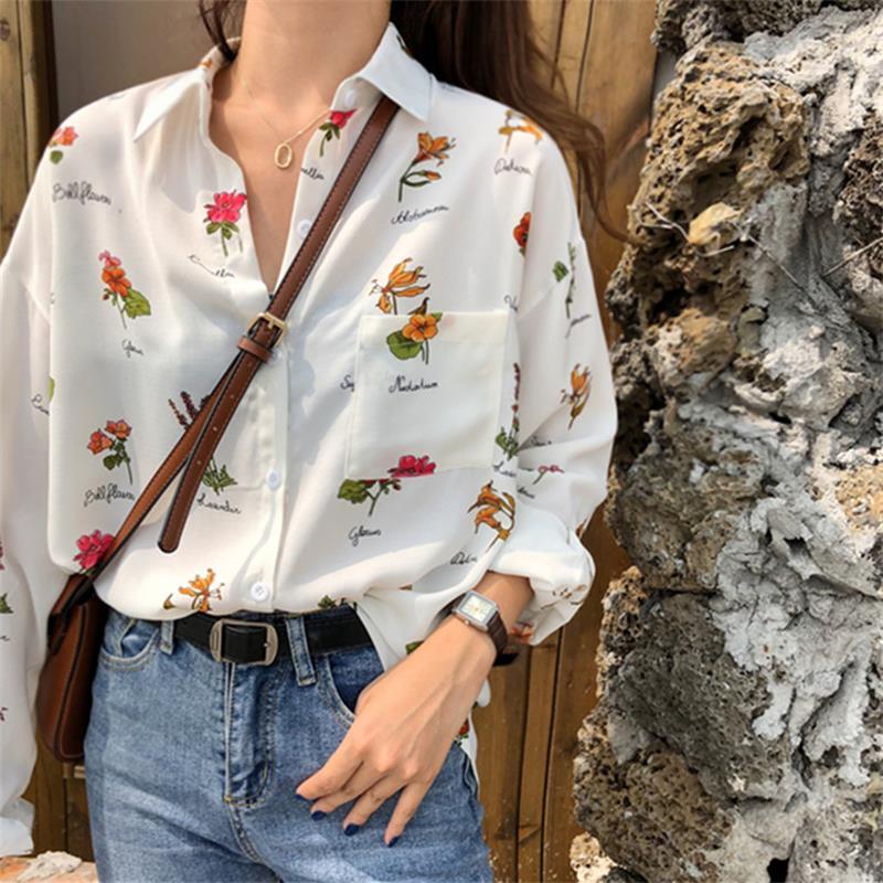Solto estilo retro início flor impressão camisa camisas femininas roupas kawaii ulzzang vintage feminino punk harajuku túnica para mulher