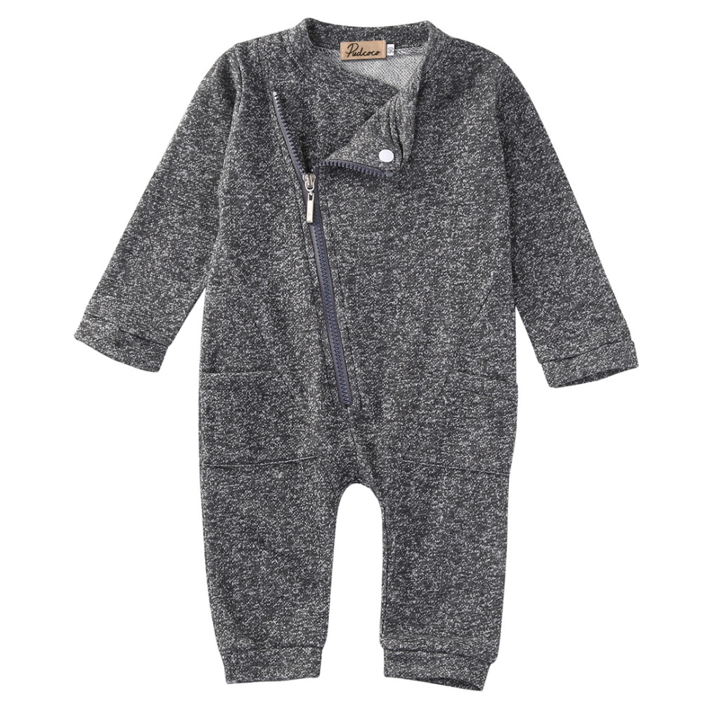 2016 Newborn Infant Baby Boy Girl Romper Long Sleeve Grey Warm Zipper Pocket Cotton Romper Jumpsuit Baby Romper Baby Clothes Set 2017 baby girl summer romper newborn baby romper suits infant boy cotton toddler striped clothes baby boy short sleeve jumpsuits