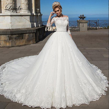 Liyuke Glamorous Boat Neck Ball Gown Wedding Dress Beauty Appliques Court Train Off The Shoulder SleeveBridal