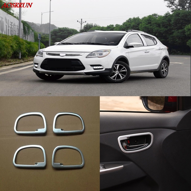 4PCS auto inner door handle Cover ABS Chrome trim car-stying Car Accessories LHD fit For lifan x50 2014 2015 light accessory