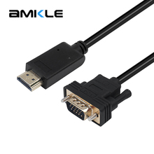 Amkle HDMI to VGA Adapter Cable HDMI Male to VGA Male 1080P Video Converter Cable for HDTV PC Computer Laptop Tablet Projector