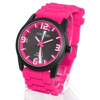 New Smart Black Dial Silicone Magenta Band Women 100 Tested 3ATM Stainless Watchcase Very Good Fashion