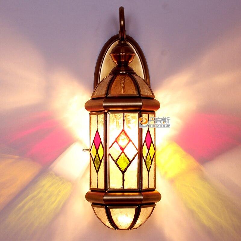 Applique européenne cuivre lampe américaine couleur verre parquet mur chevet TV couloir éclairage LU626 ZL147 YM