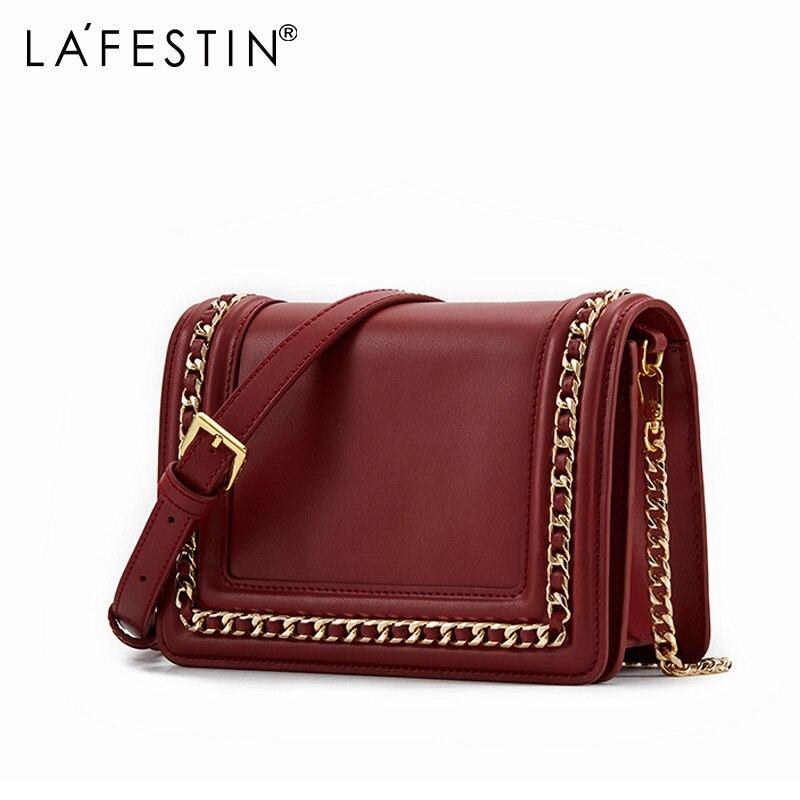 LAFESTIN Luxury Cow Leather Women Bag Retro Small Fragrance Chain Small Square Bag Shoulder Crossbody Bags