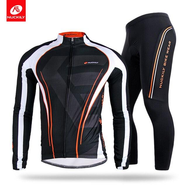 NUCKILY Inverno Costume Roupas de Ciclismo Velo Térmico Bicicleta Jersey  define Poliéster dos homens Esportes Calças d6b1249ead5d9