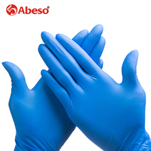 ABESO NBR latex durable disposable gloves  100 pcs/ box for food home cleaning Acid Alkali resistance antiskid golves A7101