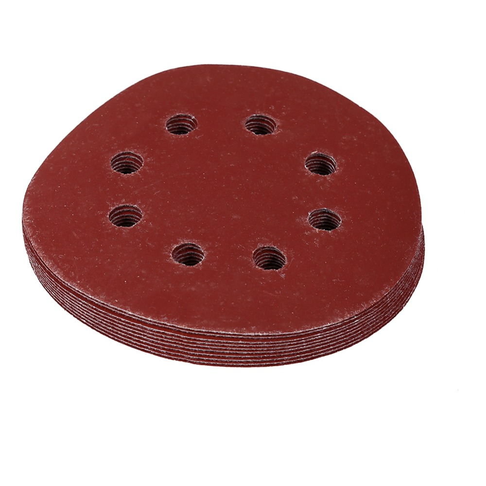 10Pcs/Lot 800# Grit Polishing Pads 125mm Round Grinding Buffing Tool Shape Red Sanding Discs 8 Hole Sand Papers
