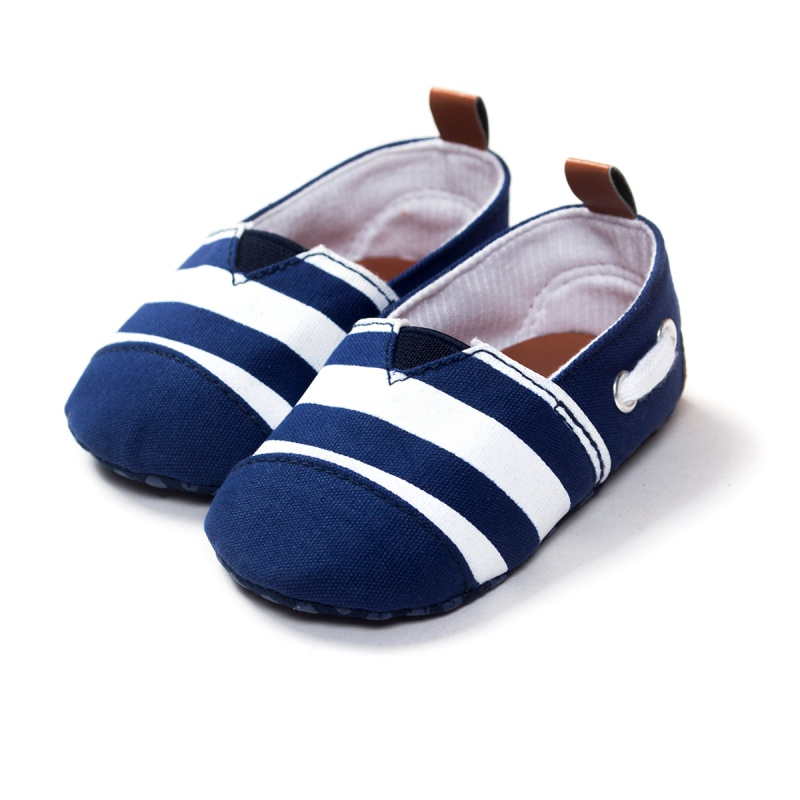 Newborn Baby Shoes Cotton Striped Kids Toddler Crib Shoes Soft Soled Prewalker L07