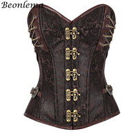 Beonleam Steel Boned Steampunk Corset Metal Buckle Brown Embroidery Bodice Lacing Up Top Women Sexy Bustiers Corset Tight Lacing