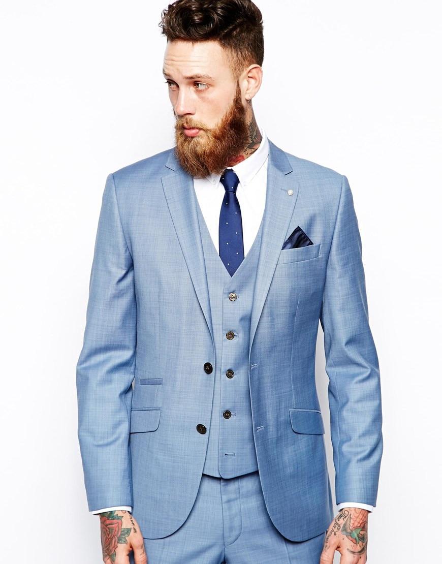 Mens jacket light blue - Italian Style Light Blue Groom Tuxedos Slim Fit Tailor Made Mens Wedding Party Suits Groomsman Wear Jacket Pants Vest Tie Terno