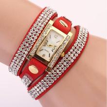 2016 Nova Pulseira De Relógio de Luxo Mulheres Casuais Relógio de Strass Senhoras De Couro PU Vestido de Quartzo Relógios de Moda relógio de Pulso Presente