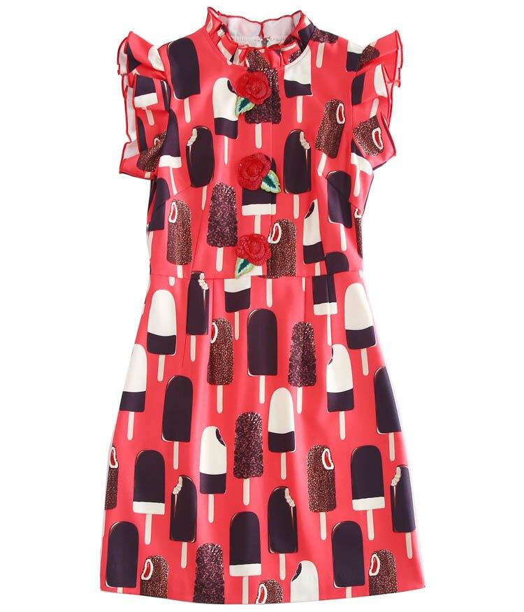De Femmes Sans Manches Truevoker Mini Glace Imprimé Robe Haute D'été Rose Fleur crème Paillettes Qualité Designer qtTTw0pxI