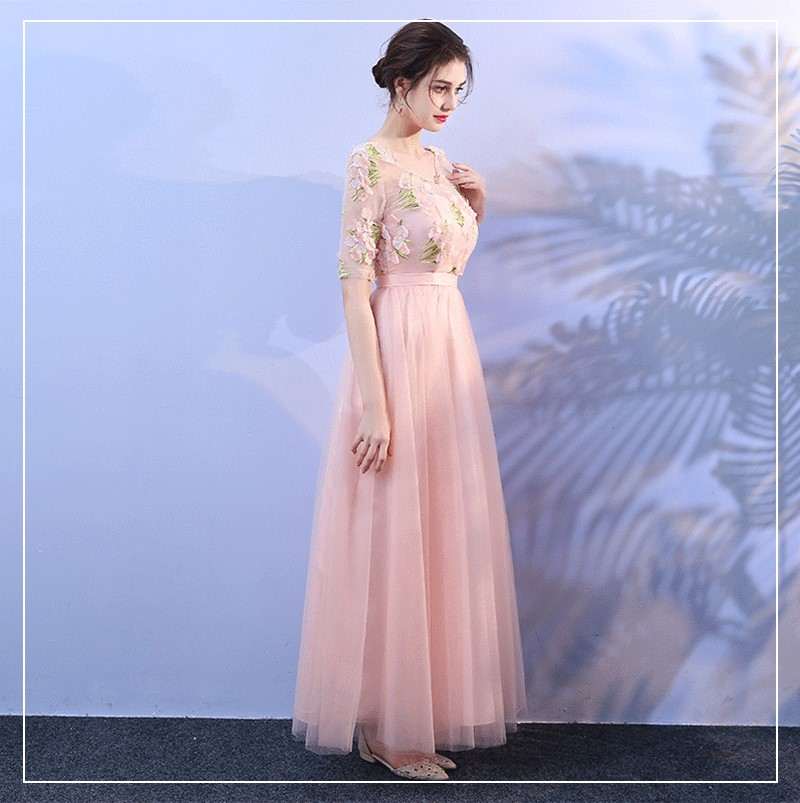 Bridesmaid Dresses  Wedding Party Dresses Pink Colour Floral Long Dress  For Women Sexy Back Of Bandage  Empire