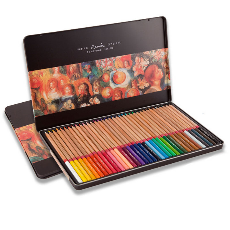 Marco Reroin Fine Oil Colored Pencils 24 36 48 72 Colors Professional Drawing Lapis De Cor For Artist Painting Sketch Pencil marco raffine fine art colored pencils 24 36 48 colors drawing sketches mitsubishi colour pencil for school supplies
