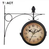Relógio de parede dupla face  relógio clássico europeu  ferro forjado  vintage  decorativo  sala de estar  moderno  mudo  jardim  pendurado