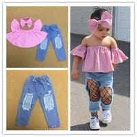 2 개 신생아 유아 아기 여자 옷 여름 짧은 소매 T 셔츠 + 데님 긴 구멍 바지 + Bowknot 모자 3 개 세트
