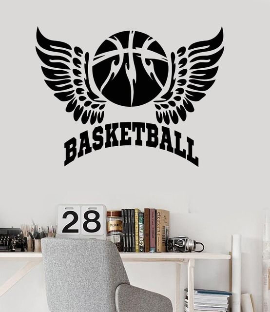 Vinyl wall decal basketball wings ball boy room sports stickers