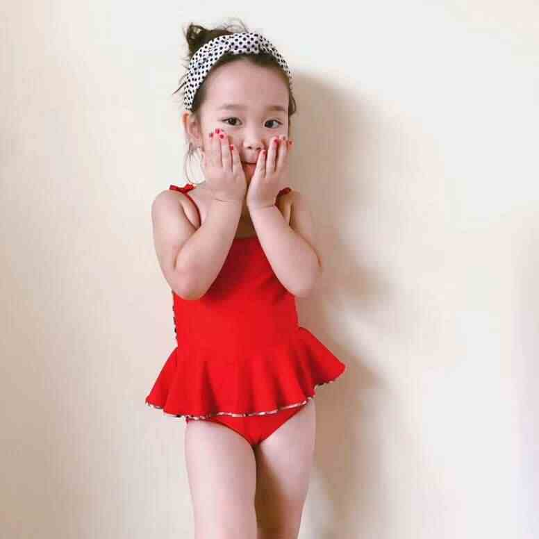 a72a6516c3 2019 New Summer Toddler Kids Swimwear Baby Girls Red Solid Bikini Swimwear  One-Piece Swimsuit