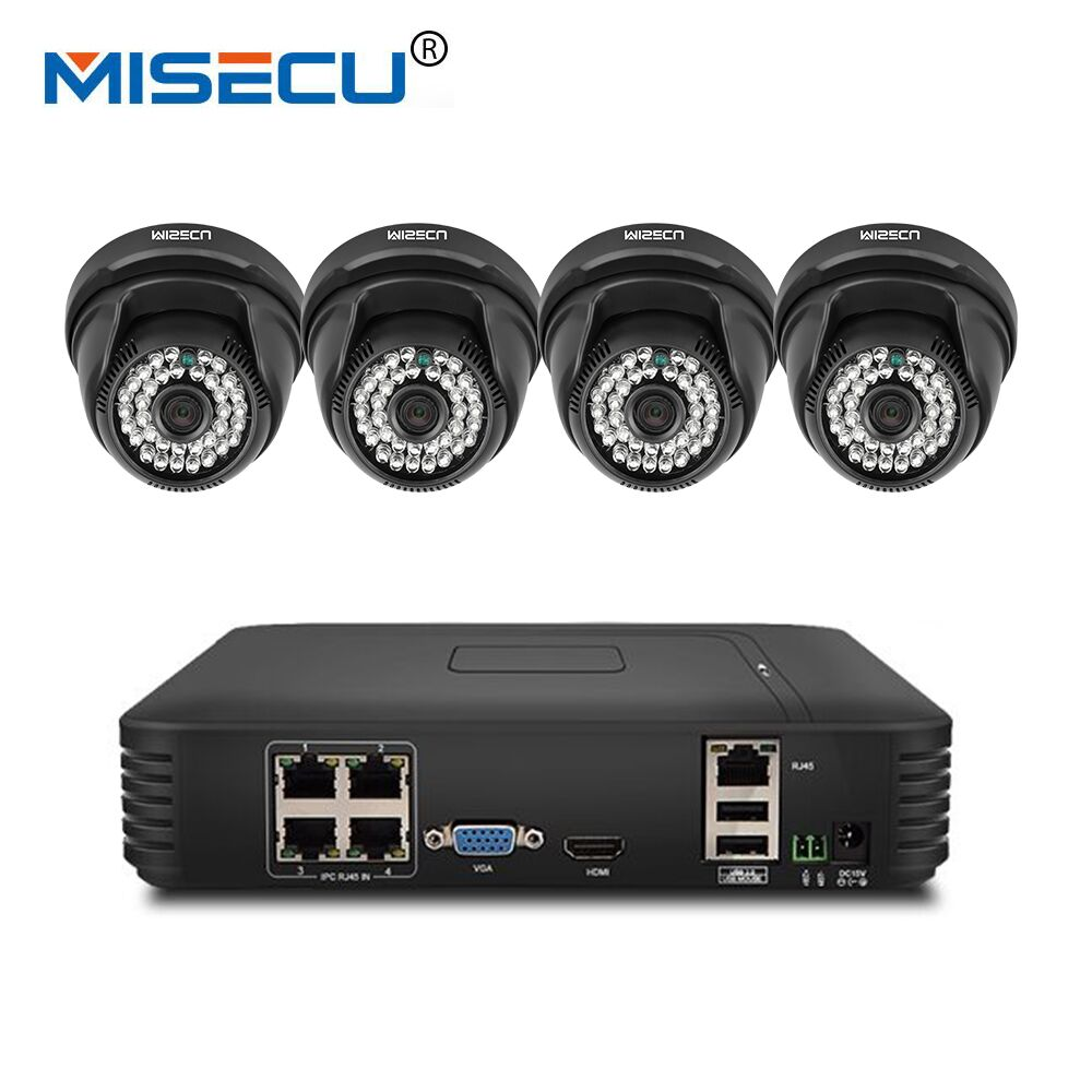 MISECU Home Surveillance System 4CH IP Security Camera PoE NVR Kit CCTV System 720P 4 Or