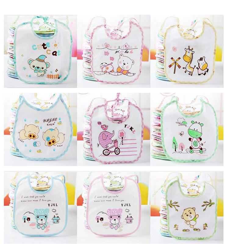 1 Piece Color Random Cute Baby Bib Cartoon Cute Infant Saliva Towels Newborn Wear Burp Cloths Cotton Soft Towel