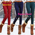 Invierno de Espesor de Alta Stretch Jeans Mujeres Del Color Del Caramelo Flaco Lápiz Pantalones Largos Caliente Fleece Lined Boot Cut Jeans Negro/blanco/Rojo/Gris