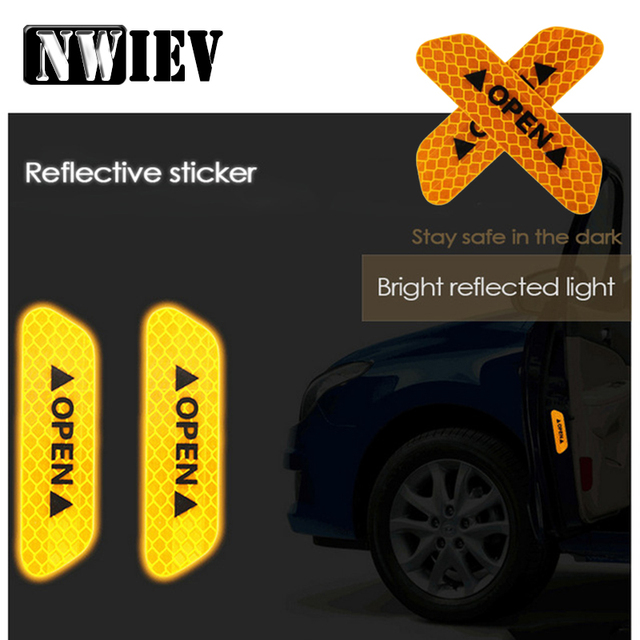 Nwiev 4pcs Safety Warning Mark Reflective Tape Car Door Stickers