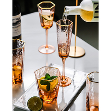 Nordic High-grade hexagonal Hammer stripe gold-rimmed wine glass  Crystal Glass Champagne Cup Household Whisky Water