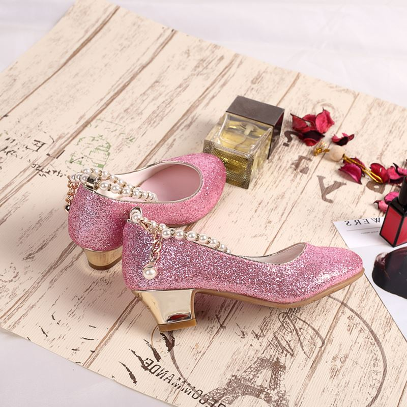 57b2bd5a0b ULKNN Shoes Girls Princess Sandals Wedding High Heel Sandals Kids School  Shoes Children Glitter Shiny Party Shoe New Dress 2018-in Leather Shoes  from Mother ...