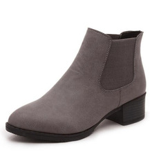 2017 [Classic]Women's Boots PU Shoes For Lady Leather Boots  Hot Sale Black Grey Color Autumn Spring Boots   .DFGD-838