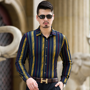 Striped long sleeve silk shirts