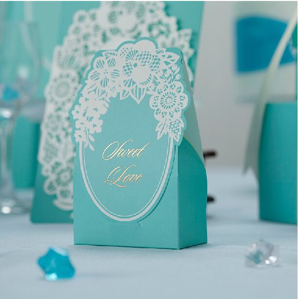 50pcs Love Flower Gifts Box Blue Wedding Candy Chocolate Boxwedding Favors And
