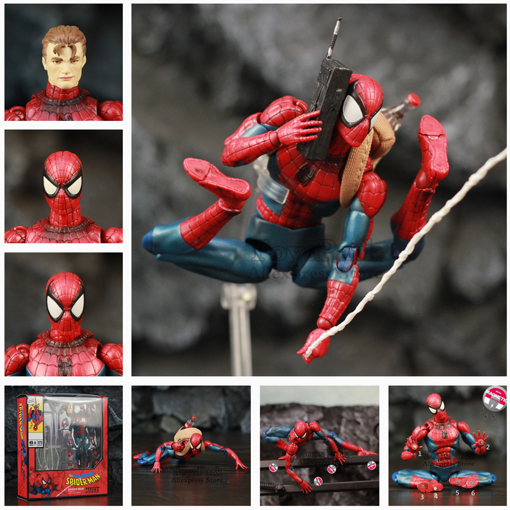 "Marvel The Amazing Spider-Man 6"" Action Figure KO's Mafex 075 Comic Ver. Peter Benjamin Parker Spider Man Legends Spiderman Toys"