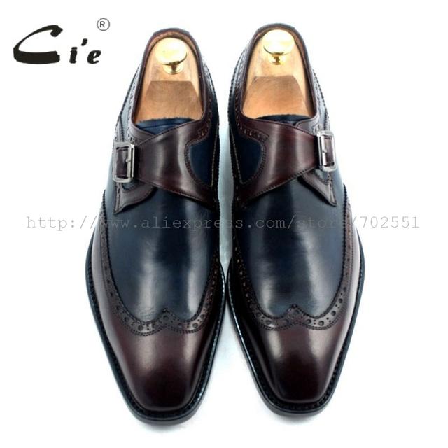 cie Square Toe W-tips Single Monk Straps Deep Wine/Navy 100% Genuine Calf Leather Bottom Breathable Men Flats Shoe Dress MS33