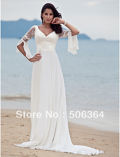 White Beach Wedding Dresses for Women