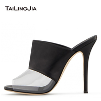 Fashion Peep Toe Female Pink Sandals With Clear Transparent PVC Woman Black Slingback High Heel Woman Slip On Mules Wholesale