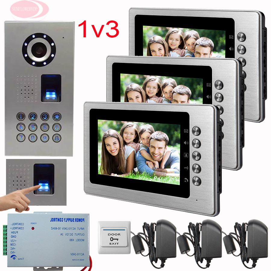 SUNFLOWERVDP Video Doorphone Systems Kit 7'' Color Monitor 3 Apartment Doorbell CCD Camera Fingerprint/Code Unlock Security Door color ring inductance 0307 3 9uh a03073r9 color code 20