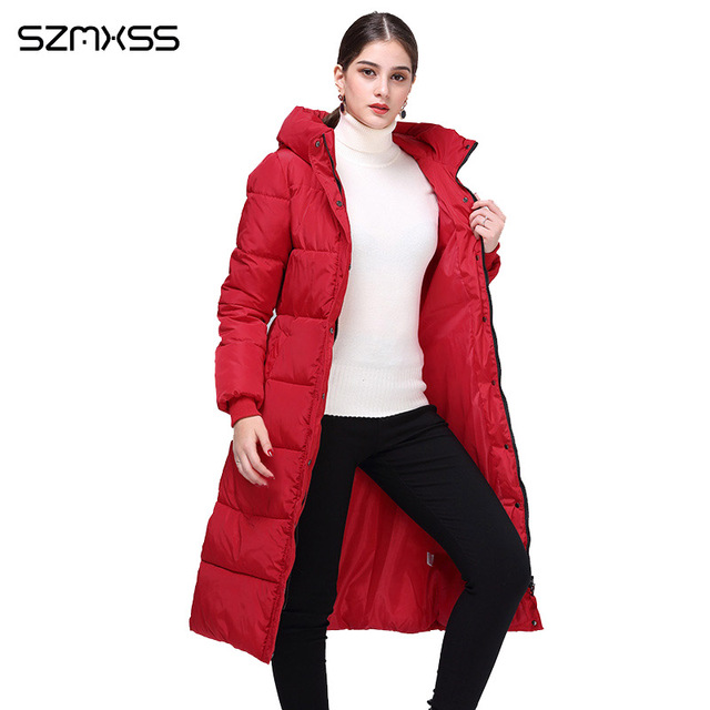 2018 new winter parka women fashion trend Slim cotton coat and long hooded solid color warm cotton clothing long sleeve mujer 1