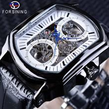 Forsining Ретро мода синий руки часы ажурные Для мужчин механические белый Часы с костями лучший бренд класса люкс Relogio Masculino