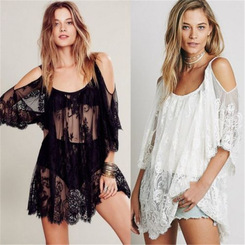 Women Summer Lace Crochet Bikini 2019 Cover Up Bathing Suit Off Shoulder White Black Pure Color Loose Beach Dress Women Swimwear