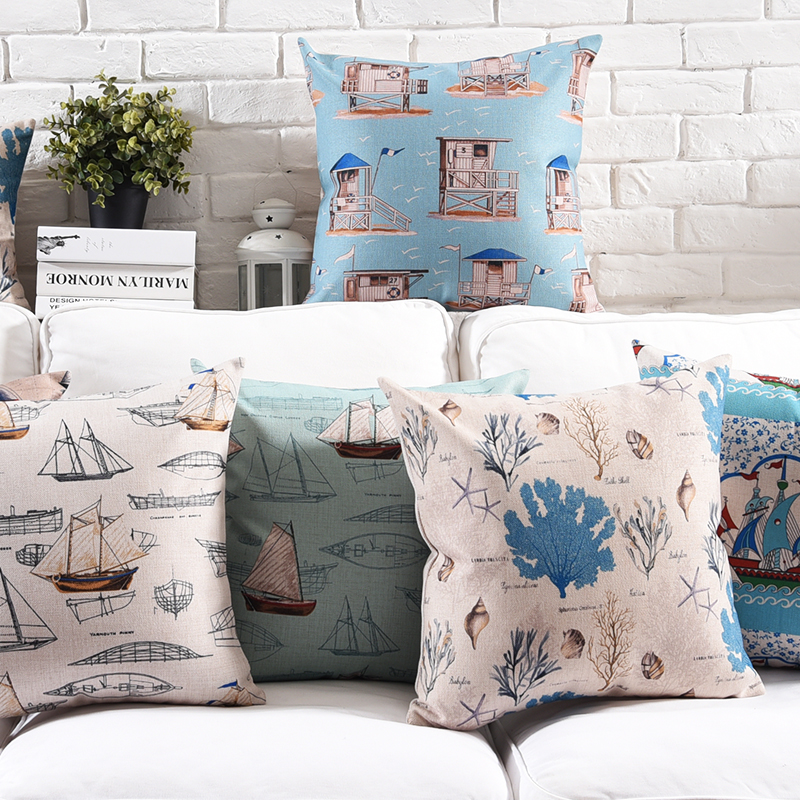 Christnas Style Linen Pillow Case creative boat Cushion Cover Sailing simple home for Sofa Home Decorative Throw Pillow Cover