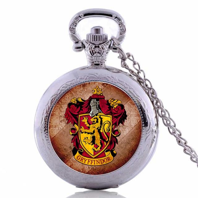 Harry Potter GRYFFINDOR Mens Womens Quartz Pocket Watch Analog Pendant Necklace