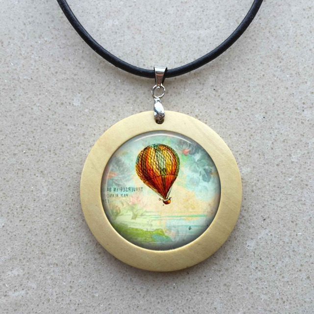 Gl Cabochon Necklace Hot Air Balloon