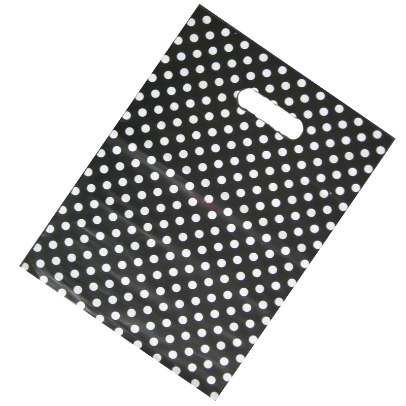 100pcs/lot Dots Design Black Plastic Gift Bag 25x35cm Boutique Jewelry Packaging Bags Cute Plastic Shopping Bags With Handle