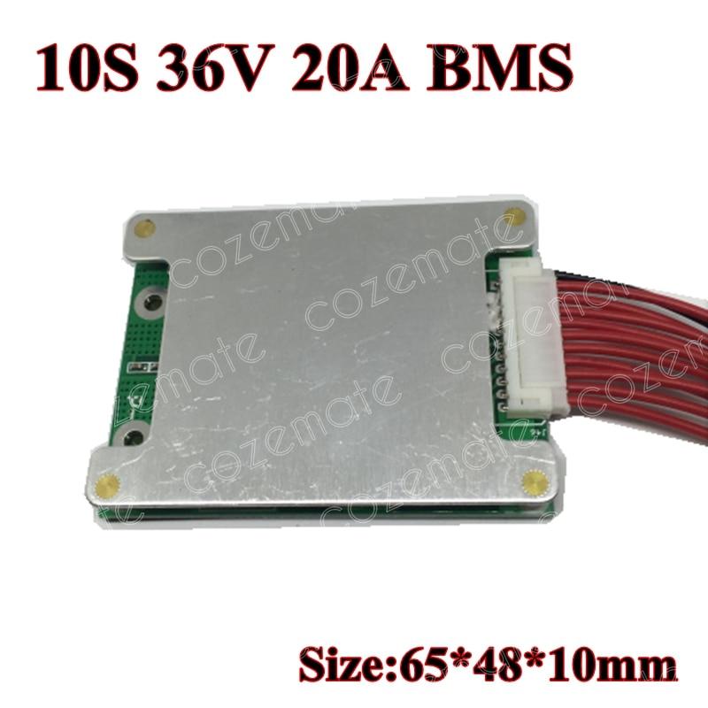 Celda de 3,6 V/3,7 V 10S 36V 10A/20A BMS utilizada para batería de 36v 10ah 12ah 15ah 20A descarga de pico continua 65A con función de equilibrio