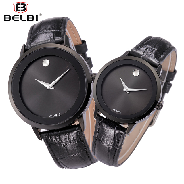 2016 New BELBI Brand Quartz Watch lovers Watches Women Men Dress Watches Leather Waterproof Wristwatches Fashion Casual Watches