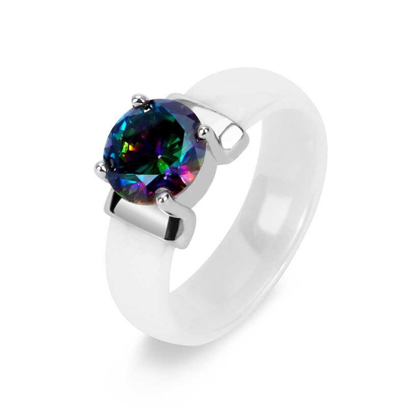 Arco-íris fogo mystic cristal zircon anel branco preto inócuos cerâmica anéis mais cz para mulher casamento anel de noivado jóias