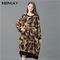 MENKAY 2018 Spring Large Size Women European And American Personality Round Neck Long Sleeve Camouflage