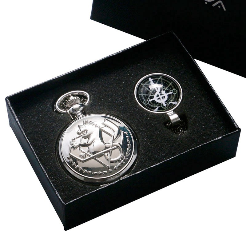 Fashion New Fullmetal Alchemist Pocket Watch with Edward Elric's Glass Dome Pendant Necklace Watch Best Gift Sets Box Chain 2017 unique smooth case pocket watch mechanical automatic watches with pendant chain necklace men women gift relogio de bolso