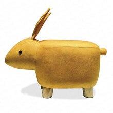 Fezes animais moda criativa coelho casa mesa de café mudança sapatos fezes presente dos desenhos animados bancos madeira maciça