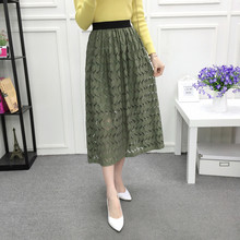 Woman veil over 2017 spring fashion new female white lace up of casual o – neck sleeve  steampunk    suede skirt pleated skirt